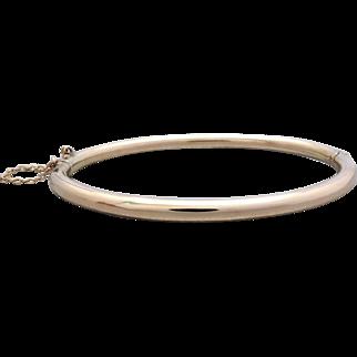 Vintage Gleaming 9K Rose Gold Hollow Hinged Bangle Bracelet, Small-medium sized