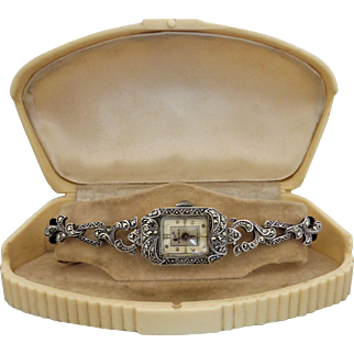 Vintage 1950's Swiss 'Nicole' Sterling Silver Marcasite Watch, Working. Boxed