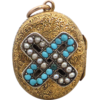 Antique Victorian Turquoise and Pearl Engraved Locket 18K Gold and Gold Filled Back