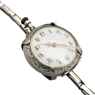 Antique French .800 Silver Pocket Watch Conversion Wristwatch, Serviced
