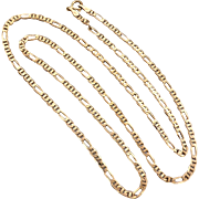 "Estate 9K Yellow Gold 20"" inch Figaro Anchor Chain Necklace"