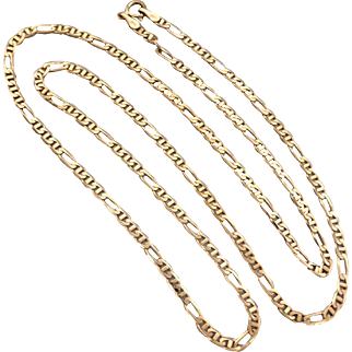 """Estate 9K Yellow Gold 20"""" inch Figaro Anchor Chain Necklace"""