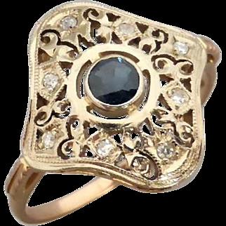 Filigree Sapphire and Diamond Ring in 14K Rose & White Gold