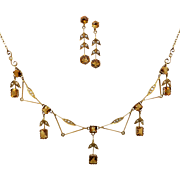 Edwardian Citrine & Seed Pearl Necklace Earrings Set in 9ct Gold, Australian