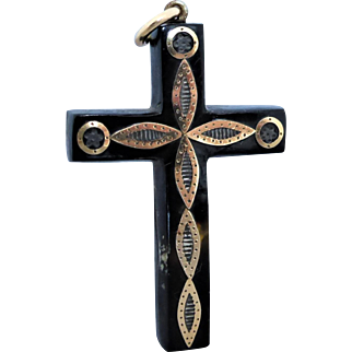 Antique Victorian Piqué  Yellow Gold & Silver Tortoiseshell Cross Pendant