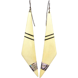 Vintage Art Deco Huge Bone Earrings with Paua Shell & Onyx Inlay