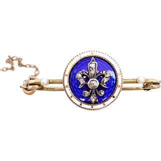 Antique Fleur De Lis Rose-cut Diamond, Pearl & Royal Blue & White Enamel Safety Pin Brooch