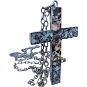 Antique Scottish Sterling Silver Aberdeen Granite Cross Necklace