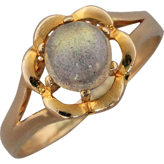 Vintage 14K Gold Labradorite Flower Ring