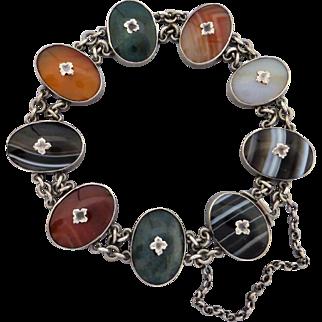 Victorian Scottish Sterling Silver Agate Bracelet
