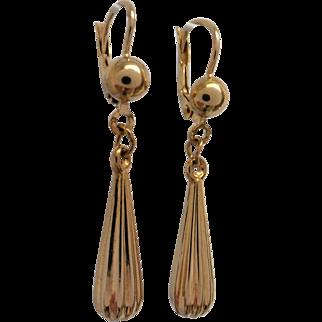 Vintage Italian 9K Yellow Gold Fluted Dangle Earrings