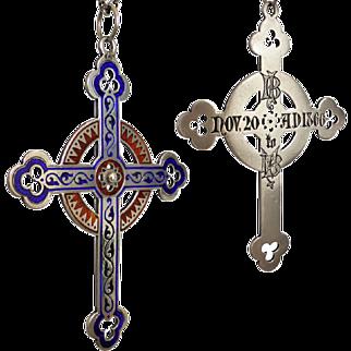 Victorian Sterling Silver Champleve Enamel Cross Pendant Engraved 'Nov 20 AD 1866'