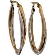 Estate Contemporary 9k Yellow and White Gold  Oval Hoop Earrings