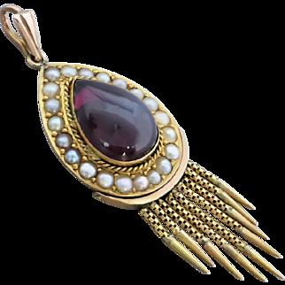 Victorian c1880 Almandine Garnet and Seed Pearl Tassel Pendant