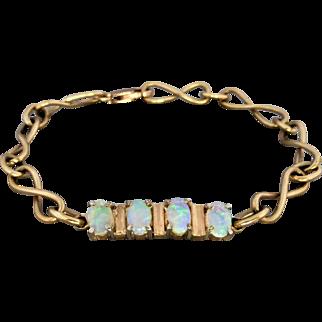 Vintage 9K Gold Pretty Solid Opal Infinity Link Bracelet
