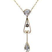 Antique Edwardian Aquamarine and Pearl Lavalier Necklace in 9K Gold