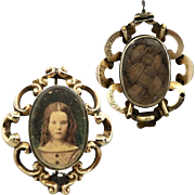 Victorian Portrait Hair Mourning Pin Brooch, Inscribed