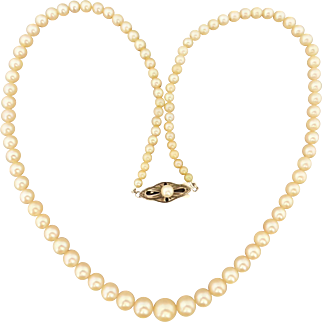 Vintage 1950's Lustrous Cream Akoya Pearl Graduated Necklace Strand