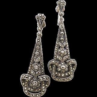Vintage Art Deco c1925 Long Dangle Marcasite Sterling Silver Earrings