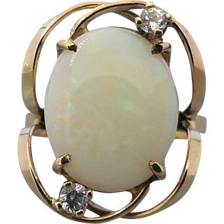 Vintage Retro 60's Australian Solid White Opal & CZ Ring in 9K Gold
