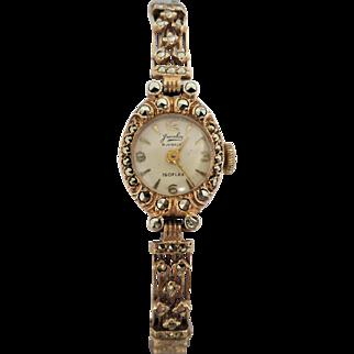Vintage 9k Rose Gold Swiss Jewelex Marcasite Watch