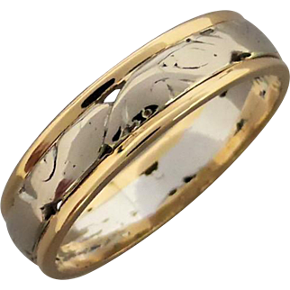 Vintage 18K White & Yellow Gold Patterned & Pierced Band Ring