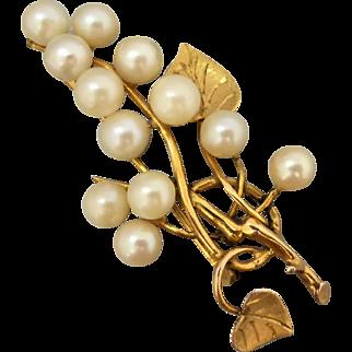 Vintage 9K Gold Akoya Pearl Brooch, Organic Branch Leaf Spray Design