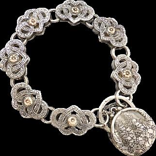 Vintage Sterling Silver & 9ct Rose Gold Engraved Heart Bracelet Purse Padlock