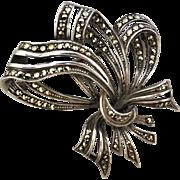 Vintage German-made Sterling Silver Marcasite Ribbon Brooch