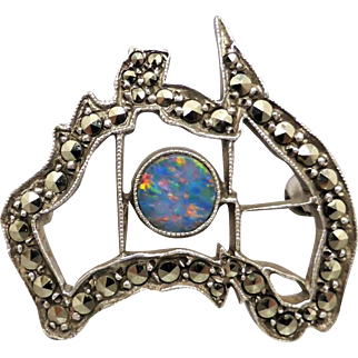 Vintage Sterling Silver Opal and Marcasite Map of Australia Brooch