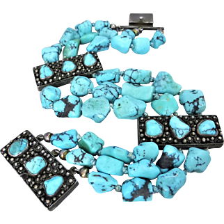 Vintage Turquoise Beaded and Cannetille Silver Bracelet