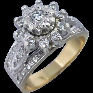 Vintage Diamond Cluster Ring in 18K Yellow Gold & Palladium