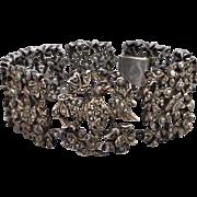 Antique Silver Marcasite Dove Bird & Floral Bracelet, Coral Eye Highlight