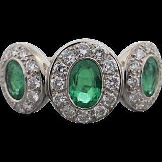 Estate 18K White Gold Emerald and Diamond 3 Cluster Band
