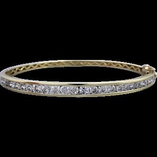 Estate Channel-set 2.00cts Diamond Bangle Bracelet in 9K Yellow Gold