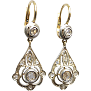 Vintage Art Deco Rose Cut Diamond Drop Earrings in Silver & 18K Yellow Gold