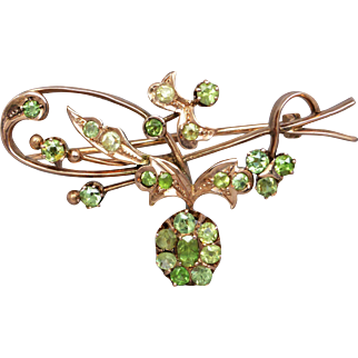 Antique Art Nouveau Russian Demantoid Garnet Brooch Pin