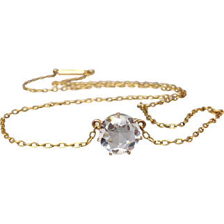 Antique Dainty Faceted Quartz Necklace in 9k Gold