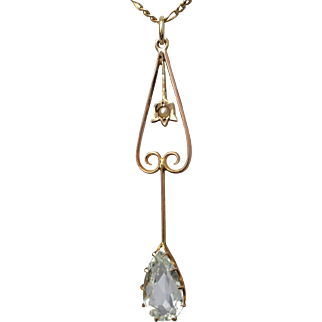 Antique Edwardian Aquamarine and Pearl Lavalier Pendant in 9K Gold