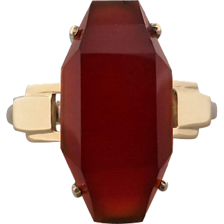 Vintage Art Deco Upcycled Carnelian Ring in 18K & 9K Gold