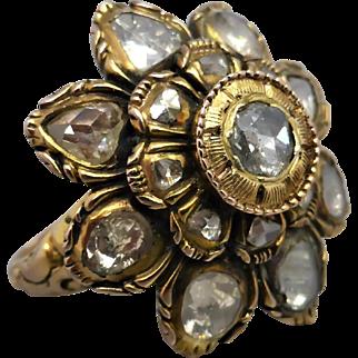 Antique Georgian Rose Cut Diamond Large Flower Ring