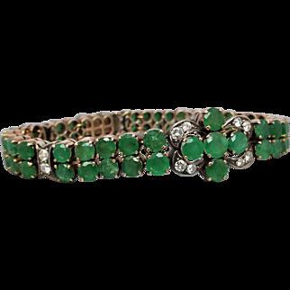 Estate Natural Emerald and Diamond Bracelet