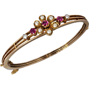 Antique Edwardian 14K Gold Ruby and Seed Pearl 'Trembling' Bracelet Bangle