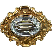 Late Georgian Early Victorian Aquamarine Brooch Pendant with Repousse Frame