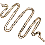 Victorian 9K Gold Long & Smooth Belcher Muff Guard Chain