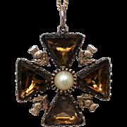Georgian Scottish Foil-back Cairngorm Quartz & Pearl Maltese Cross Pendant