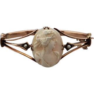 Antique 9K Rose Gold Cameo and Pearl Bangle Bracelet