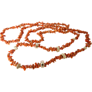 Vintage 9ct Gold Bead and Branch Coral Necklace- Opera Length