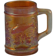 Dugan Carnival Glass Fish & Flower Fisherman Mug