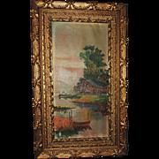ANTIQUE Oil Painting Primitive 19th Century Primitive Lake Scene